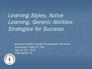 Learning Styles, Active Learning, Generic Abi...