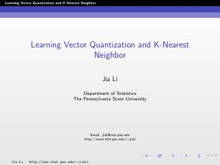 leaning vector quantization and k-nearest nei...
