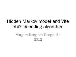 Lecture2 Hidden Markov Model