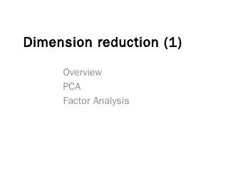 Lecture 12 Dimension reduction  PCA and SIR