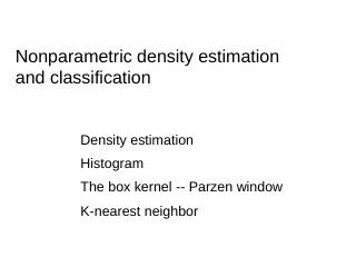 Lecture 3 Non parametric density estimation a...