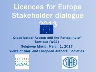 Licences for Europe Structured stakeholder di...