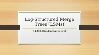 Log Structured Merge Trees