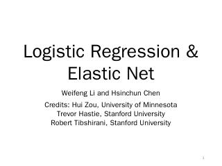 Logistic Regression & Elastic Net