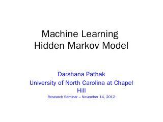 Machine Learning Hidden Markov Model
