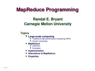 MapReduce Programming - Carnegie Mellon Schoo...