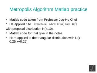 Matlab implementation of MCMC - UFL MAE
