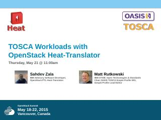 May 18-22, 2015 Vancouver, Canada TOSCA Workl...