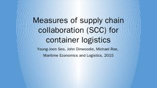 Measures of supply chain collaboration (SCC) ...