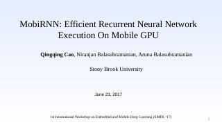 MobiRNN: Efficient Recurrent Neural Network ....