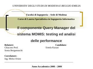 Il componente Query Manager del sistema MOMIS...