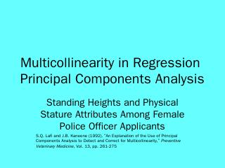 Multicollinearity in Regression Principal Com...