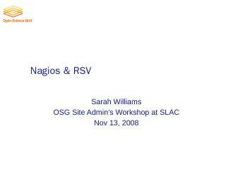 Nagios & RSV - Indico - FNAL