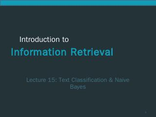 Naive Bayes for Text Classification - CSE IIT...