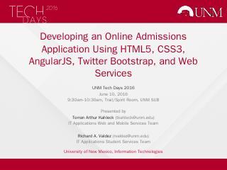 Name of Presentation - Tech Days - UNM