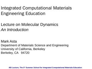 nano-Materials Simulation Toolkit MD Lecture,...