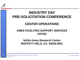 NASA Ames Research Center MOFFETT FIELD, CA 9...