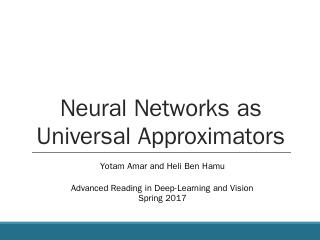 Neural Networks as Universal Approximators