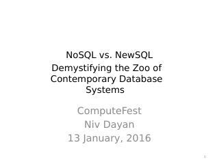 NoSQL v.s. NewSQL