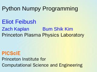 numpy. - Princeton University