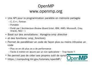 OpenMP www.openmp.org