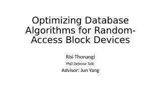 随机访问磁盘友好的数据库算法优化