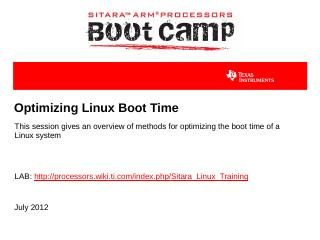 Optimizing Linux Boot Time - TI Training