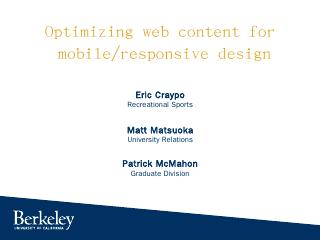 Optimizing Web Content for Mobile/Responsive ...