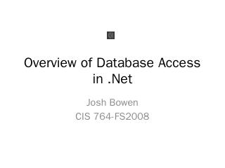 Overview of Database Access in .Net - People