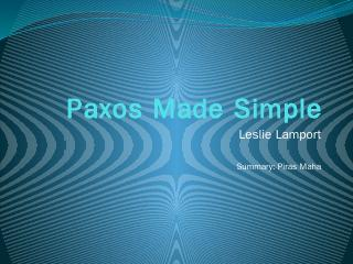 Paxos Made Simple