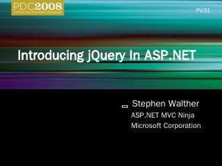PC31: Introducing jQuery In ASP.NET