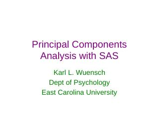 PCA with SAS - East Carolina University