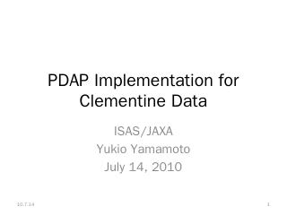 PDAP Implementation for CLEMENTINE - IPDA