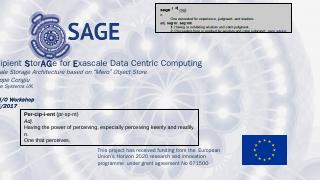Percipient StorAGe for Exascale Data Centric ...