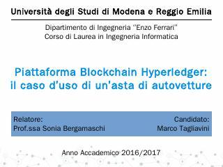 Piattaforma Blockchain Hyperledger - Unimore