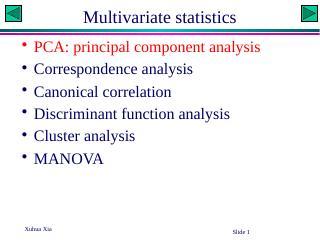 Pincipal Component Analysis