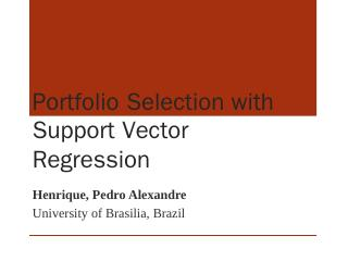 Portfolio Selection with Support Vector Regre...