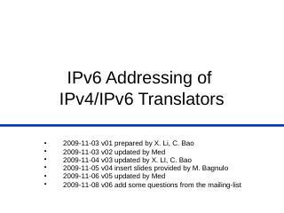 PowerPoint Presentation - IPv6 Addressing of ...