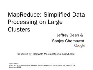 MapReduce: Simplified Data Processing on Larg...