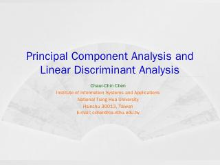 Principal Component Analysis and Linear Discr...