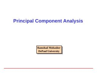 Principal Component Analysis - DePaul University