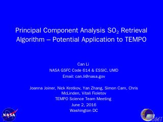 Principal Component Analysis SO2 Retrieval Al...