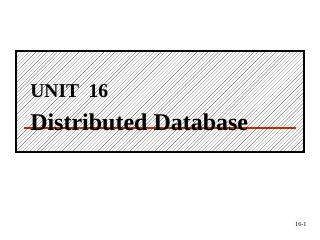 16.3 Problems of Distributed Database Systems