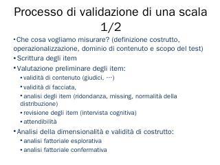 Processo di validazione di una scala 1/2