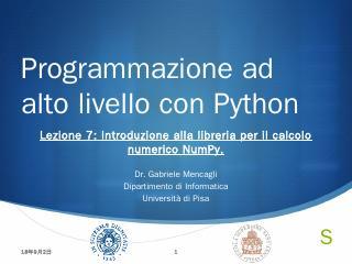 Programmazione ad alto livello con Python - U...