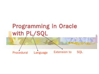 Programming in Oracle with PL/SQL - UTC.edu