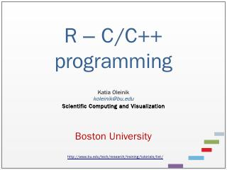 R Data Analysis and Calculations - Boston Uni...