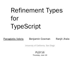 Refinement Types for TypeScript