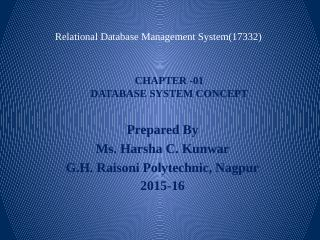 Relation Database Management System - GH Rais...