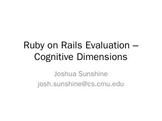 Ruby on Rails Evaluation  Cognitive Dimensions